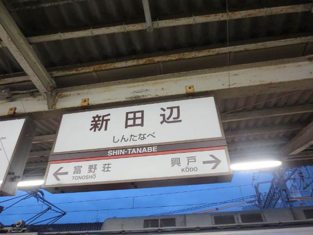 新田辺 駅名標