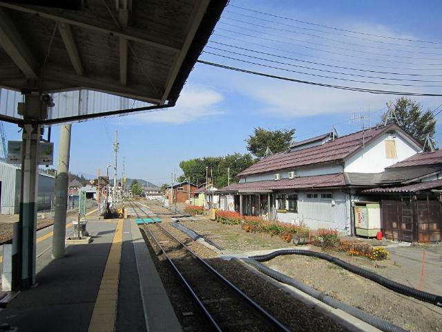 飯山ホームから駅舎