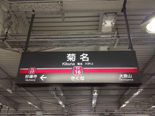 菊名東横駅名