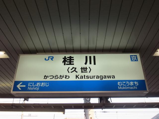 桂川 駅名標