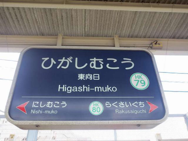 東向日 駅名標